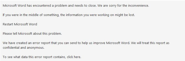 Error message from Microsoft Office Application Recovery tool