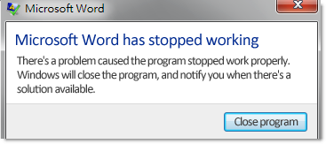 fix MS word has stopped working