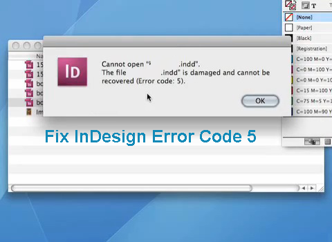 steps to fix Indesign CS6 Error 5