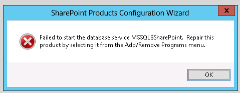 MSSQL$SharePoint error