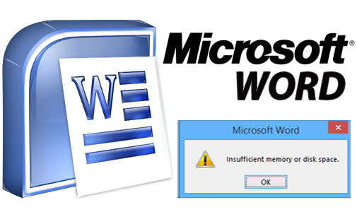 ms word insufficient memory or disk space