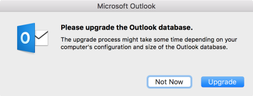 'Outlook can't upgrade your database'