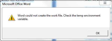 resolve Word Could Not Create The Work File error