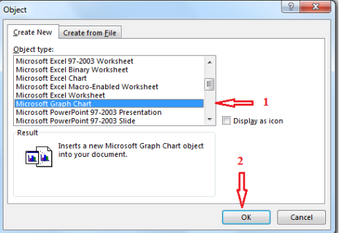 Object type, select Excel sheet