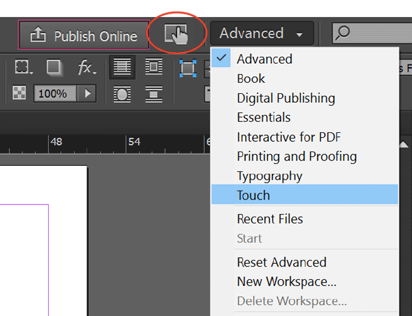 Touch Workspace Option