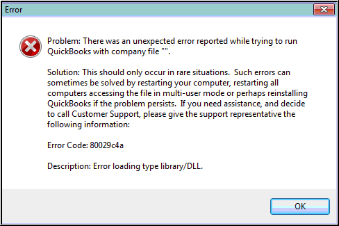 Solutions for QuickBooks error 80029c4a