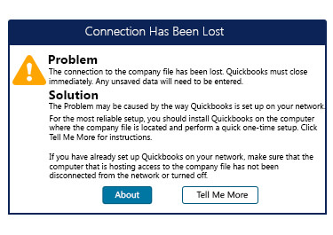 QuickBooks Connection Has Been Lost